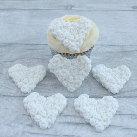 Sugarpaste Heart Rose Cupcake Decorations