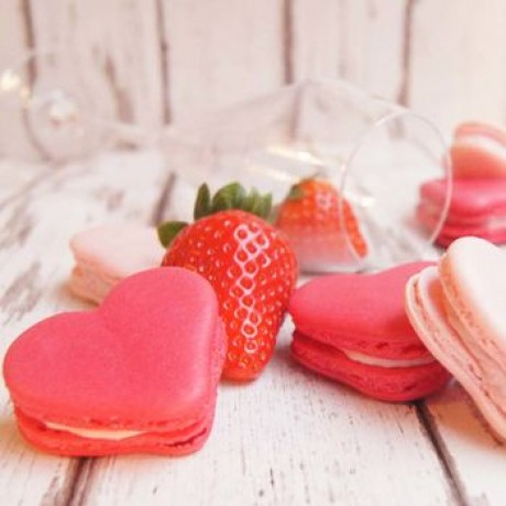 Champagne and Strawberry Valentines Heart Macarons Box of 12