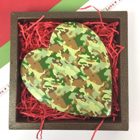 Large Milk Chocolate Heart with Camouflage Design