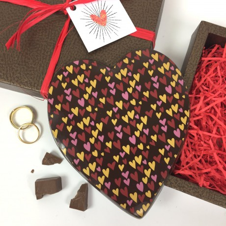 Large Chocolate Heart in Dark Chocolate with Heart Design
