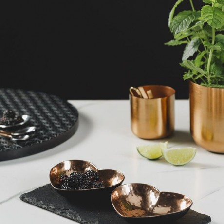 Copper Heart Serving Dishes as Tableware