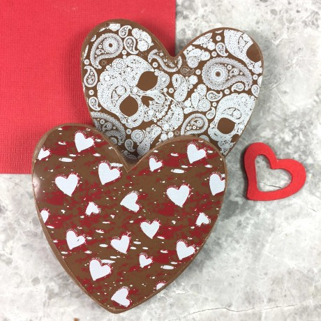 Small Chocolate Hearts in Milk Chocolate with Heart & Skull Design