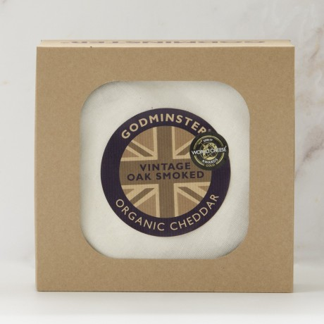 1kg Oak-Smoked Vintage Organic Cheddar in Gift Box