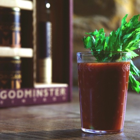 Bloody Mary made with our horseradish vodka spirit