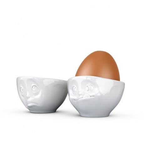 White Porcelain Egg Cups 'Oh Please' & 'Tasty'