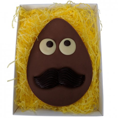 Flat Milk Chocolate Easter Egg with Dark Moustache