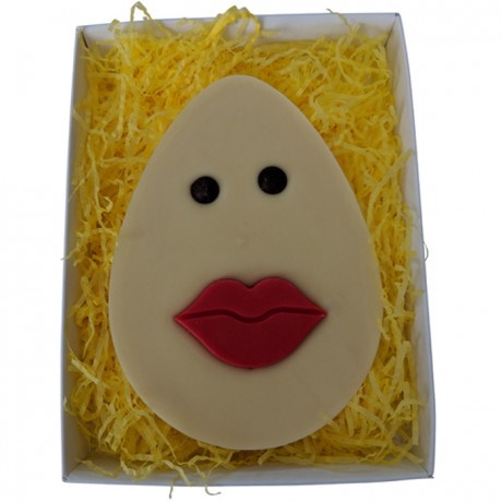 Flat White Chocolate Easter with Red lips
