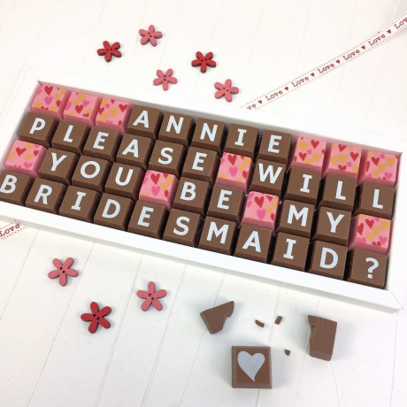 cocoapod please will you be my bridesmaid chocolates