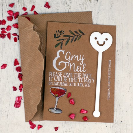 Personalised Save the Date Cocktail Stirrers