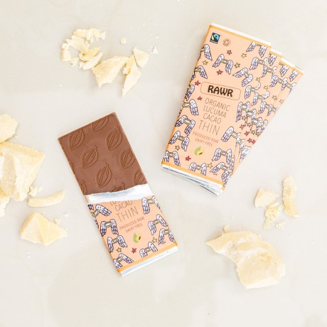 Lucuma Raw Cacao THIN Chocolate Bars - Organic, Fairtrade