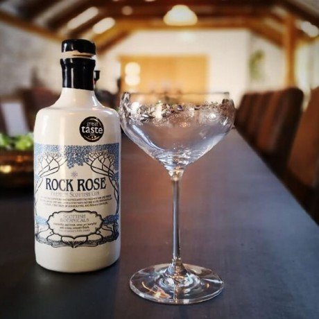 Rock Rose Gin with glass
