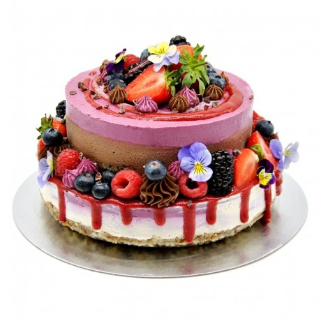 Raw Two-Tier Super Berry, Chocolate & Coconut Cake