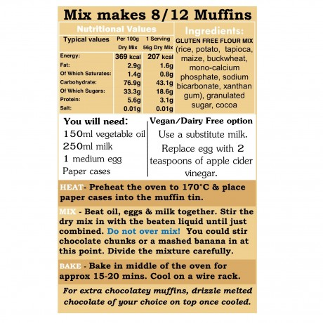 Gluten Free Just Chocolate Muffin Mix