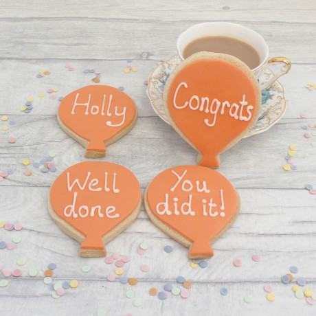Personalised congratulations balloon cookie gift