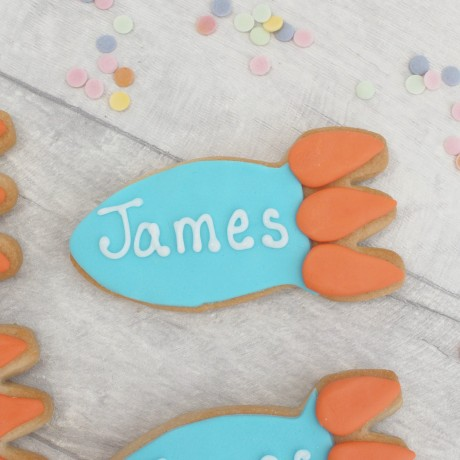 Personalised rocket ship birthday favour cookies