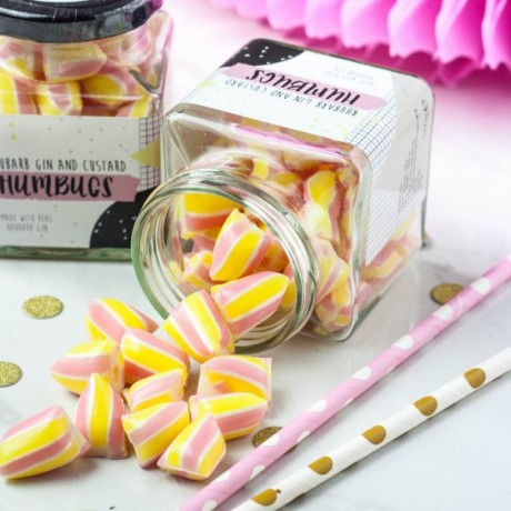 Rhubarb Gin and Custard Humbug Candy