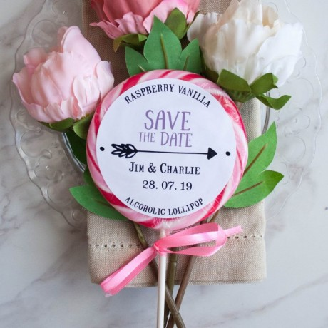 Personalised 'Arrow' Save the Date Giant Lollipops