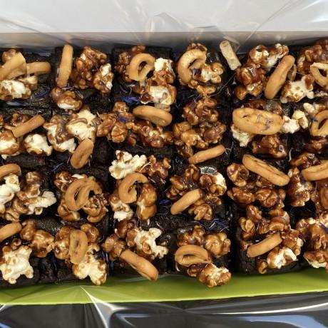 Toffee Popcorn & Pretzel Vegan Brownies