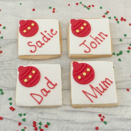 Bauble decorated Christmas themed edible place setting cards