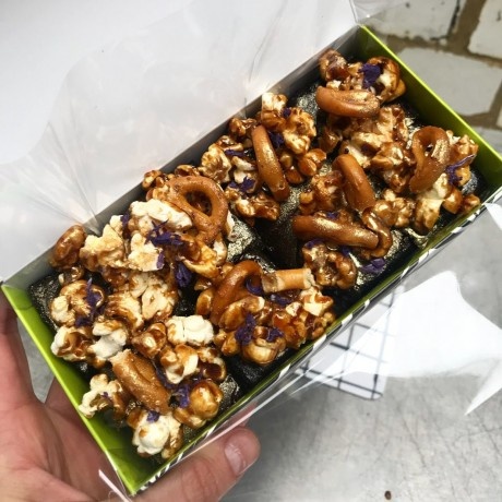 Toffee Popcorn & Pretzel Vegan Brownies