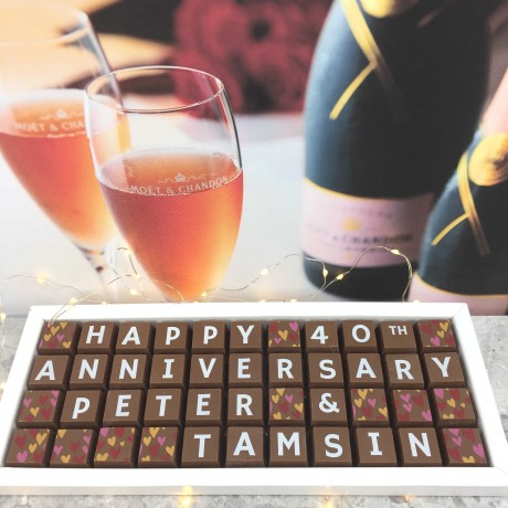 cocoapod personalised 40th wedding anniversary chocolates