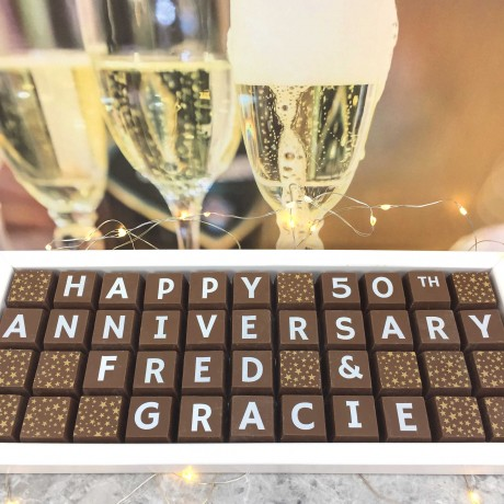 cocoapod personalised 50th wedding anniversary chocolates