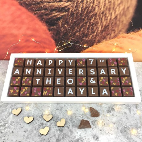 Cocoapod Personalised 7th ANNIVERSARY (Wool Anniversary) Chocolates