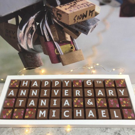 cocoapod personalised 6th anniversary sugar anniversary chocolates