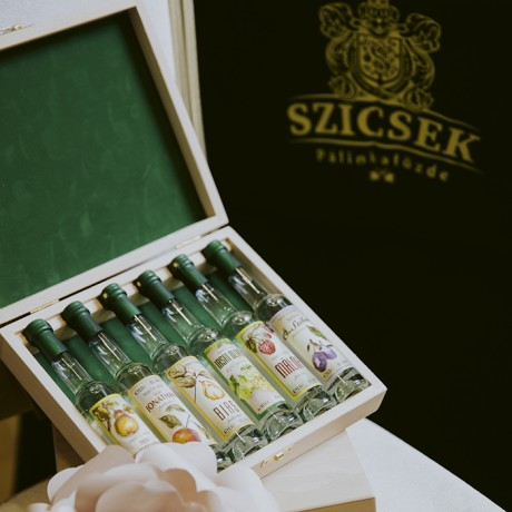 6 Mini Bottles of Premium Palinka in the Wooden box