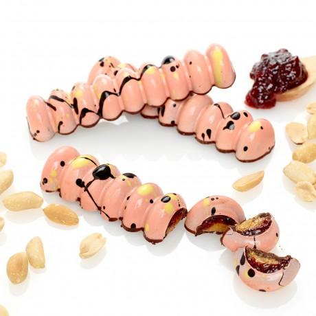Peanut Praline and berry jam bar