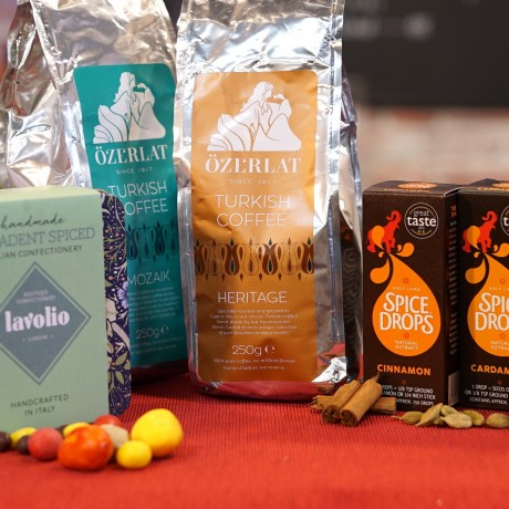 GIFT HAMPER FOR COFFEE LOVERS (PREMIUM TURKISH COFFEE, ITALIAN BOUTIQUE CONFECTIONERY & SPICE DROPS)
