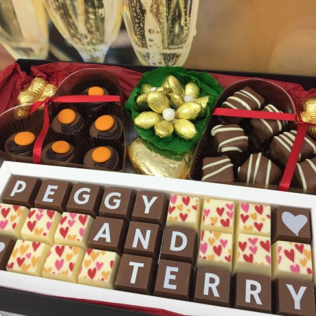 cocoapod chocolates personalised 50th golden wedding anniversary chocolate hamper