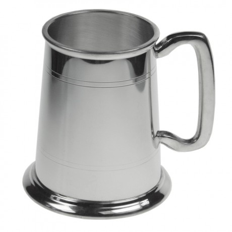 polished pewter tankard