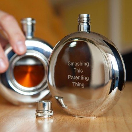 Engraved stainless steel window hip flask