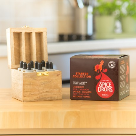 Starter Spice Drops® Selection with Wooden Spice Rack or Spice Box