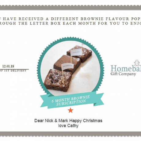 Monthly Chocolate Brownie Subscription For a Year
