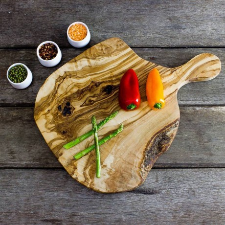 Rustic Olive Wood Cheese Board With Handle - 38cm