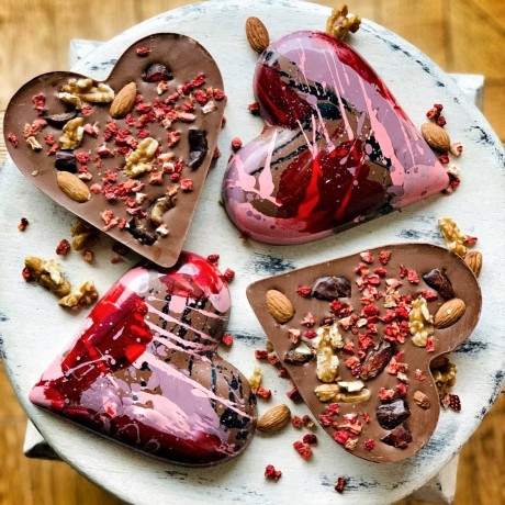 Topped with chopped dates, freeze dried strawberry and various nuts