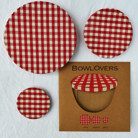 Set of 3 Red Gingham Cotton Food