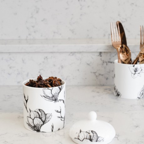 Fine Bone China Lidded Jar - Floral Decadence