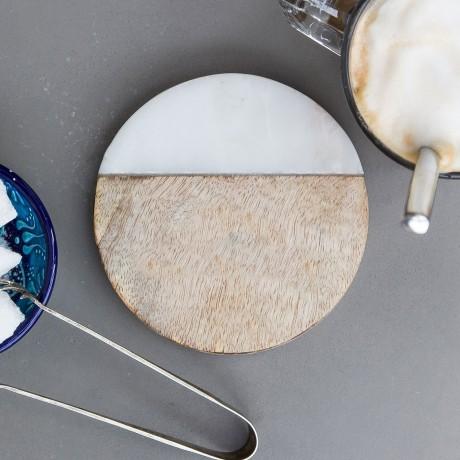 Set of 4 Marble and Mango Wood Coasters