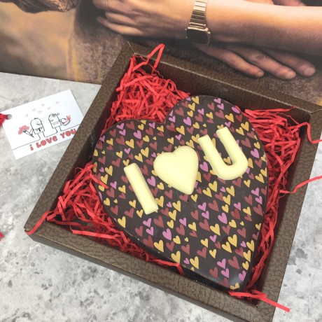 Personalised Large Chocolate Heart in Milk Chocolate with Heart Design
