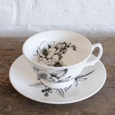 Freesia and Orange Blossom Teacup and Saucer