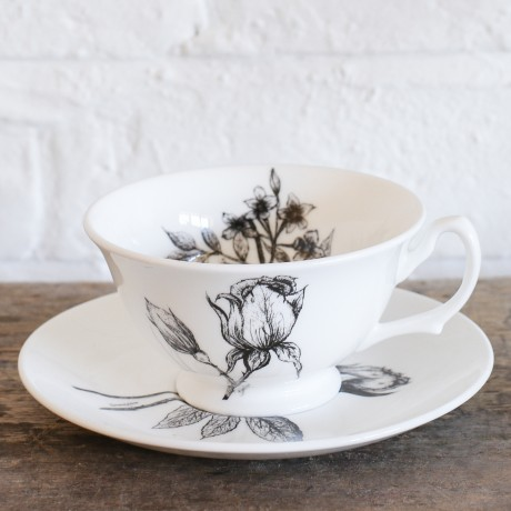 Fine Bone China Teacup & Saucer - Rose & Jasmine