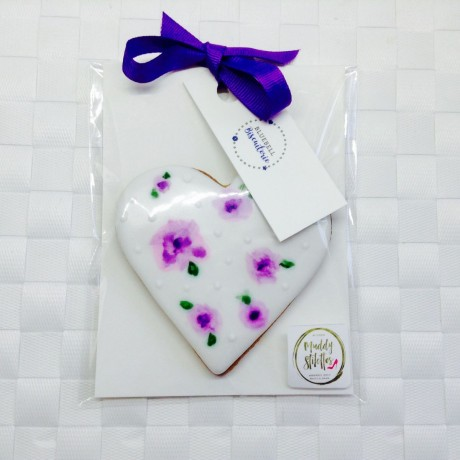 Hand Painted Flower Heart Biscuit Favours (Choice of Colour)