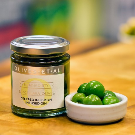 Neat & Dirty Olives steeped in Lemon Gin