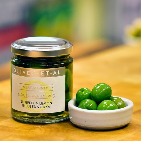 Neat & Dirty Olives steeped in Lemon Vodka