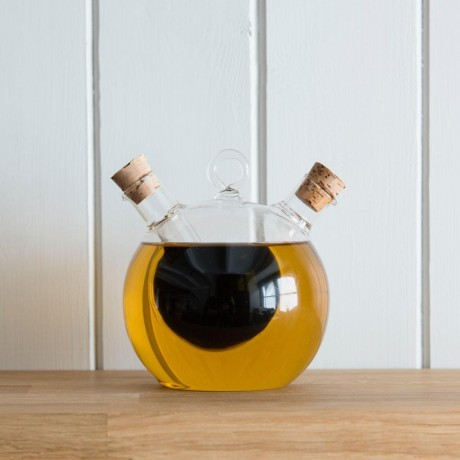 Oil and Vinegar Cruet Bottle With Internal Bubble Shaped Chamber