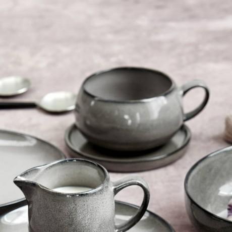 Grey Amara Ceramic Cup And Saucer Set