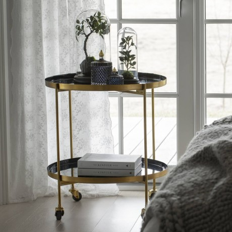 Deep Blue And Gold Nara Bar Cart